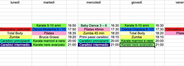 Pubblicati gli orari scuola di BALLO – FITNESS – KARATE Reggio Emilia 2021/2022