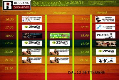 Pubblicati gli orari scuola di ballo Reggio Emilia 2018/2019